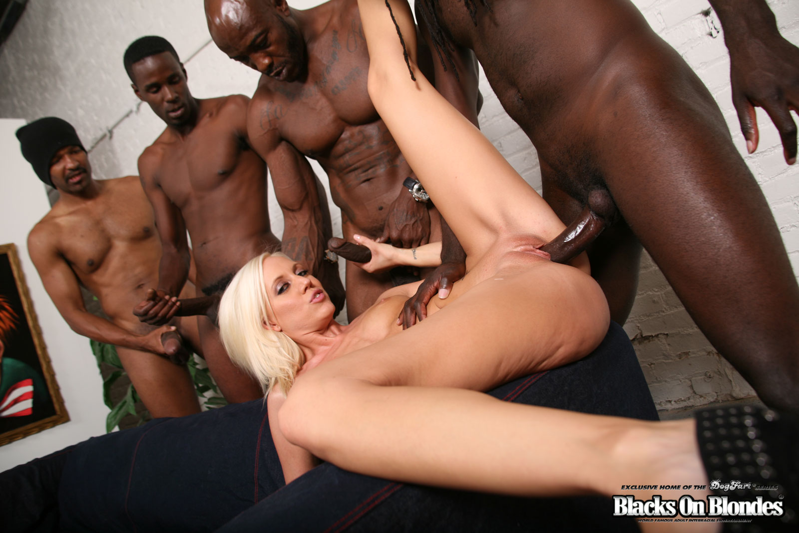 Black guys gangbang blonde