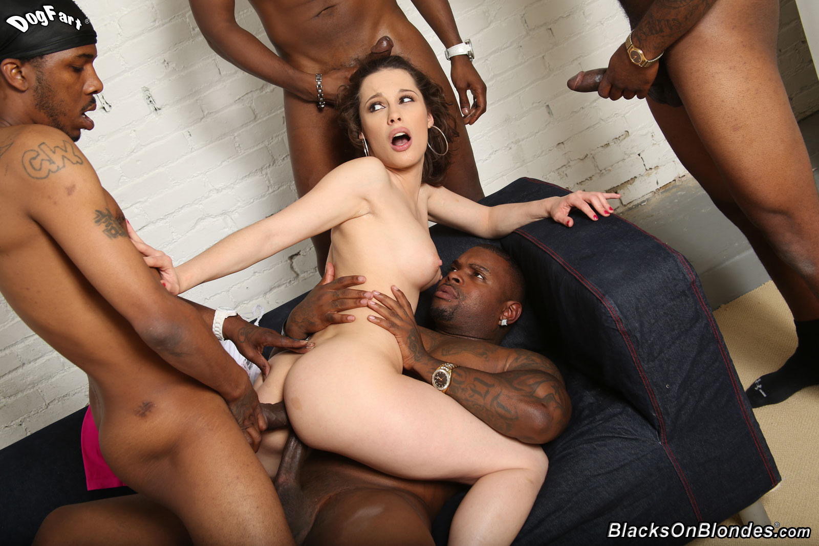 Remarkable, interracial gangbang orgy mine