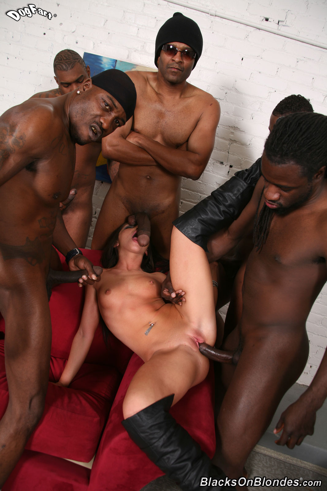 Black guys gangbang white slut