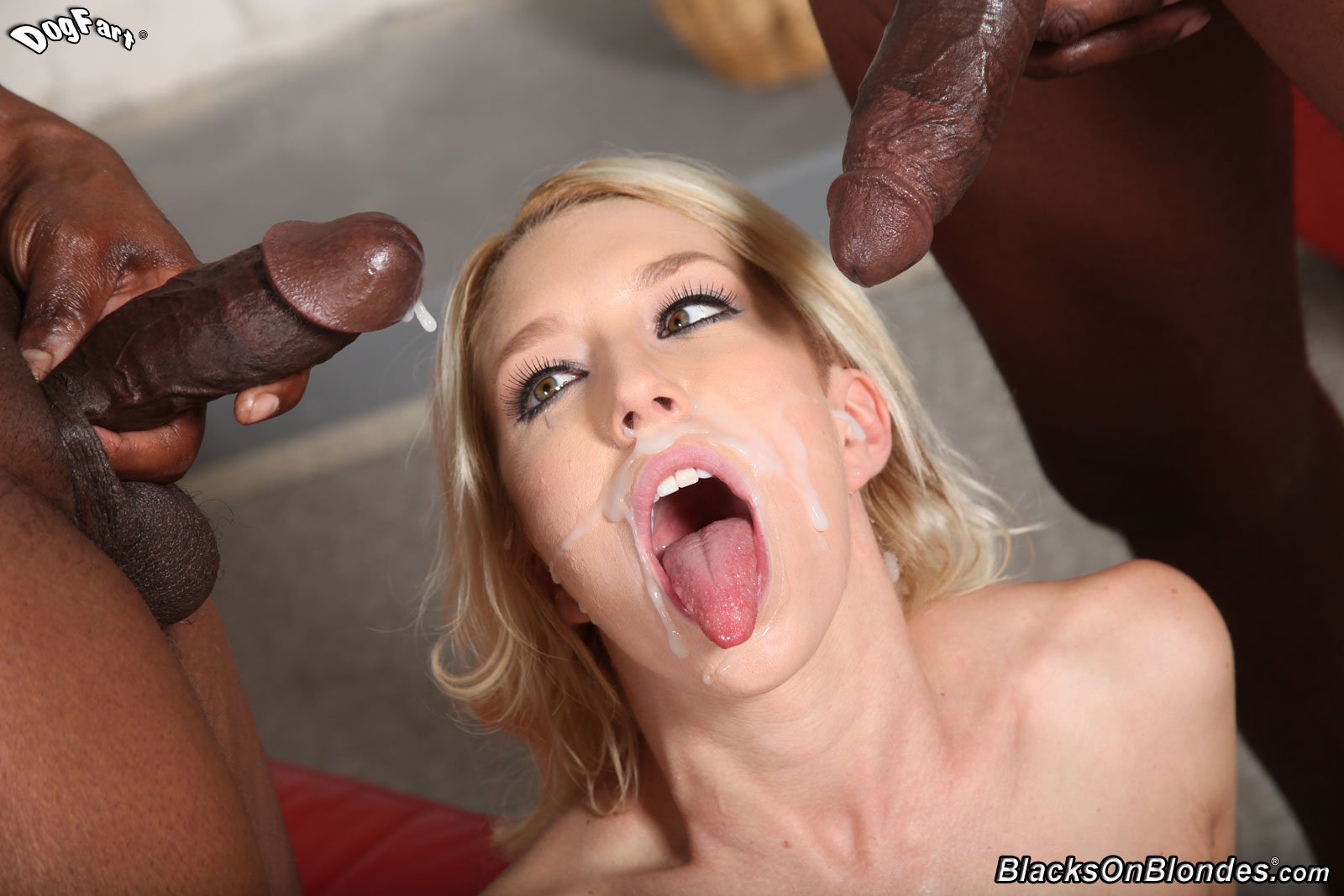 Blacks gangbang blonde